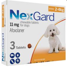 NexGard НЕКСГАРД 11 мг жевательные таблетки от блох и клещей для собак 2-4кг (цена за 1 штуку)