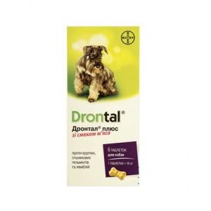 Таблетки для собак Bayer «Drontal Plus» (Дронтал Плюс) на 10 кг, 6 таблеток (для лечения и профилактики гельминтозов)