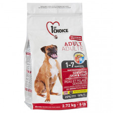 1st Choice Sensitive Skin & Coat Adult Lamb & Fish сухий корм для дорослих собак з ягням і рибою, 2,72 кг.