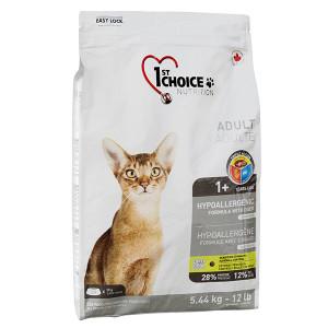 1st Choice Hypoallergenic Adult сухой гиппоаллергенный корм для взрослых котов с уткой и бататом, 0,35 кг.