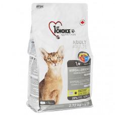 1st Choice Hypoallergenic Adult сухой гиппоаллергенный корм для взрослых котов с уткой и бататом, 2,72 кг.