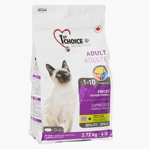1st Choice Finicky Adult Chicken сухой корм для котов привередливых и активных, с курицей, 2,72 кг.