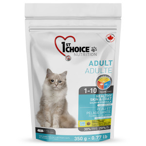 1st Choice Healthy Skin&Coat Adult сухой корм для котов, для здоровой кожи и шерсти с лососем, 0.35 кг.