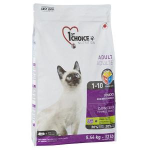 1st Choice Finicky Adult Chicken сухий корм для котів вибагливих і активних, з куркою, 5,44 кг.
