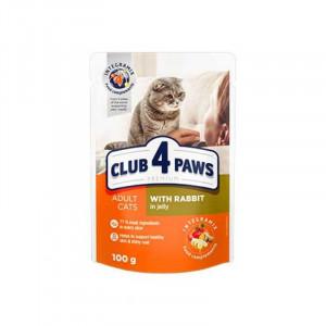 Клуб 4 Лапы влажный корм для взрослых котов с кроликом в желе 0,1 кг