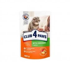 Клуб 4 Лапы влажный корм для взрослых котов с курицей в соусе 0,1 кг