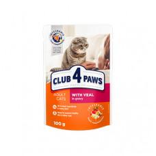 Клуб 4 Лапы влажный корм для взрослых котов с телятиной в соусе 0,1 кг