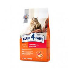 Клуб 4 Лапы сухой корм для взрослых котов с эффектом выведения шерсти 14 кг