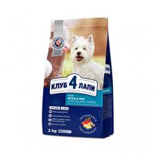 Клуб 4 Лапы сухой корм для взрослых собак мелких пород с ягненком и рисом 2 кг