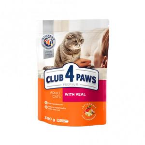 Клуб 4 Лапы сухой корм для взрослых котов с телятиной 0,3 кг