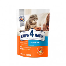 Клуб 4 Лапы сухой корм для взрослых котов с лососем 0,3 кг
