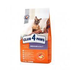 Клуб 4 Лапы сухой корм для взрослых котов живущих в помещении 4 в 1 5 кг
