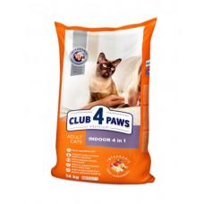 Клуб 4 Лапы сухой корм для взрослых котов живущих в помещении 4 в 1 14 кг