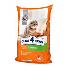 Клуб 4 Лапы сухой корм для взрослых котов с курицей 14 кг