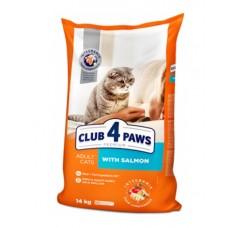 Клуб 4 Лапы сухой корм для взрослых котов с лососем 14 кг