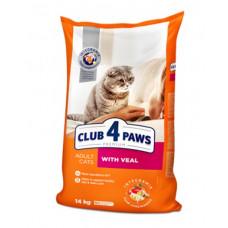 Клуб 4 Лапы сухой корм для взрослых котов с телятиной 14 кг