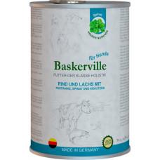 Baskerville Holistic Rind und Lachs Mit Pastinake, Spinate und Krautern. Лосось та яловічінв з пастернаком, шпинатом та зеленню для собак, 400g