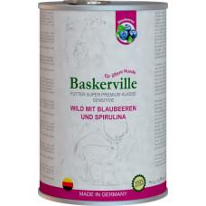 Baskerville Sensitive Wild Mit Blaubeeren und Spirulina. Оленина з чорницею та спіруліною для собак з чутливим травленням та літніх собак , 400g