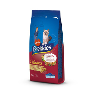 Brekkies Cat Delice Meat сухой корм для взрослых кошек с мясом 20 кг