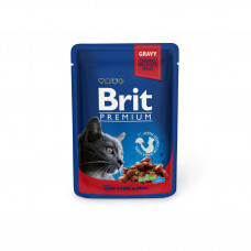 Brit Premium Cat pouch пауч для кошек с тушенной говядиной и горошком 0,1 кг