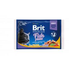 Brit Premium Cat pouch пауч для кошек рыбная тарелка 4 шт х 0,1 кг