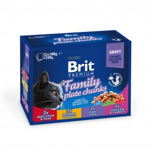 Brit Premium Cat pouch павукові для котів сімейна тарілка асорті 4 смаки 12шт х 0,1 кг