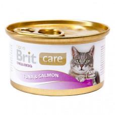 Brit Care Cat консервы для кошек с тунцом и лососем 0,08 кг
