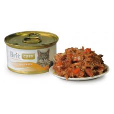 Brit Care Cat консервы для кошек с тунцом, морковью и горохом 0,08 кг