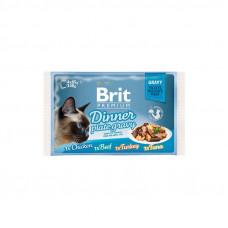 Brit Premium Cat pouch пауч для кошек обеденная тарелка в желе 4 шт х 0,08 кг