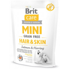 Brit Care Mini Grain Free Hair & Skinсухой корм для взрослых собак миниатюрных пород с лососем 0,4 кг