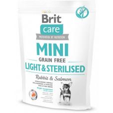 Brit Care Mini Light & Sterilised сухой беззерновой гипоаллергенный корм для собак миниатюрных пород с избыточным весом или стерилизованных собак с лососем и кроликом 0,4 кг