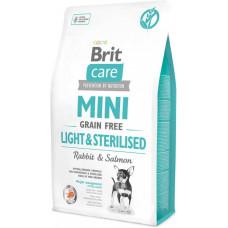 Brit Care Mini Light & Sterilised сухой беззерновой гипоаллергенный корм для собак миниатюрных пород с избыточным весом или стерилизованных собак с лососем и кроликом 2 кг