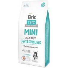 Brit Care Mini Light & Sterilised сухой беззерновой гипоаллергенный корм для собак миниатюрных пород с избыточным весом или стерилизованных собак с лососем и кроликом 7 кг