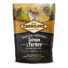 Carnilove Adult Large Salmon & Turkey сухойполнорационный беззерновой корм для взрослыхсобаккрупных пород весом от 25кг с лососем и индейкой1,5 кг