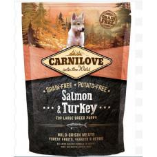 Brit carnilove Puppy Large Salmon & Turkey сухойполнорационный беззерновой корм для щенков и молодыхсобак всех пород с мясом лосося и индейки 1,5 кг