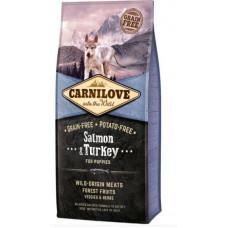 Brit carnilove Puppy Salmon & Turkeyсухойполнорационный беззерновой корм для щенков и молодыхсобак всех пород с мясом лосося и индейки 12 кг