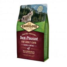 Carnilove Cat Hairball Controll сухой корм для выведения комков шерсти у кошек с уткой и фазаном 2 кг.