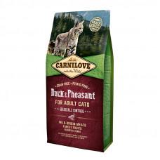 Carnilove Cat Hairball Controll сухой корм для выведения комков шерсти у кошек с уткой и фазаном 6 кг.