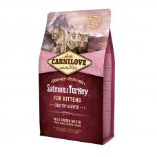 Carnilove Cat Kitten сухой корм для котят с лососем и индейкой 2 кг.
