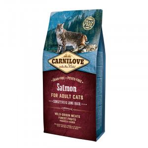 Carnilove Cat Sensitive & Long Hair корм для кошек с чувствительным пищеварением со вкусом лосося 6 кг.