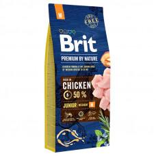 Brit Premium Junior M сухой корм для щенков и молодых собак средних породс курицей 15 кг