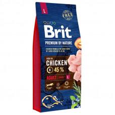 Brit Premium Adult Lсухой корм для взрослых собак крупных пород с курицей 15 кг