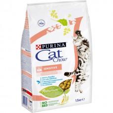 Cat Chow Sensitive сухой корм с лососем 1,5 кг