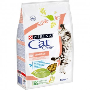 Cat Chow Sensitive сухой корм с лососем 1,5 кг