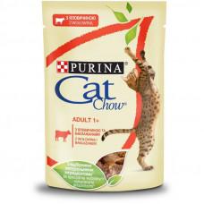 Cat Chow Adult влажный корм для взрослых котов с говядиной и баклажанами в желе 0,085 кг