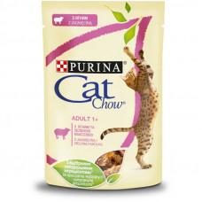 Cat Chow Adult влажный корм для взрослых котов с ягненком и зеленой фасолью в желе 0,085 кг