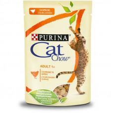 Cat Chow Adult влажный корм для взрослых котов с курицей и кабачками в желе 0,085 кг