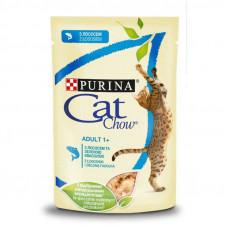 Cat Chow Adult влажный корм для взрослых котов с лососем и зеленой фасолью в желе 0,085 кг