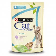 Cat Chow Kitten влажный корм для котят с индейкой и кобачком в желе 0,085 кг