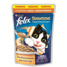 Felix (Феликс) консервы для котов с индейкой и беконом 100г